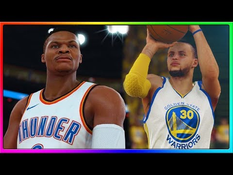 Golden State Warriors vs Oklahoma City Thunder, Steph Curry vs Russell Westbrook | NBA 2K18 Gameplay