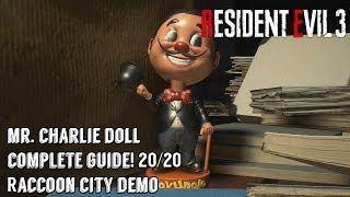 Resident Evil 3 - Raccoon City Demo - All 20 Mr. Charlie Doll Locations! Step-By-Step Walkthrough!