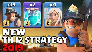 New TH12 Stratyge 2019! 34 Miner 2 Clone Spell With Electro Queen Walk Easy Destroy Th12 Max Bases