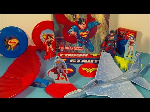 2014 SUPERMAN and WONDER WOMAN SET OF 5 WENDY'S KID'S MEAL TOY'S VIDEO REVIEW
