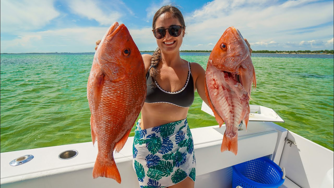 As FRESH as it GETS! BIG Red Snapper Island Catch, Clean, Cook! Family Fishing in Panama City, FL