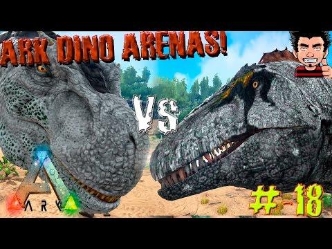 ARK Survival Evolved T-REX VS Acrocanthosaurus Batalla dinosaurios arena gameplay español