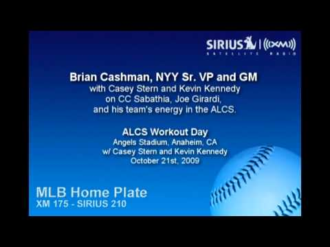 Brian Cashman at 2009 ALCS Gm 5 Workout Day w/ Casey Stern and Kevin Kennedy of Sirius XM Radio