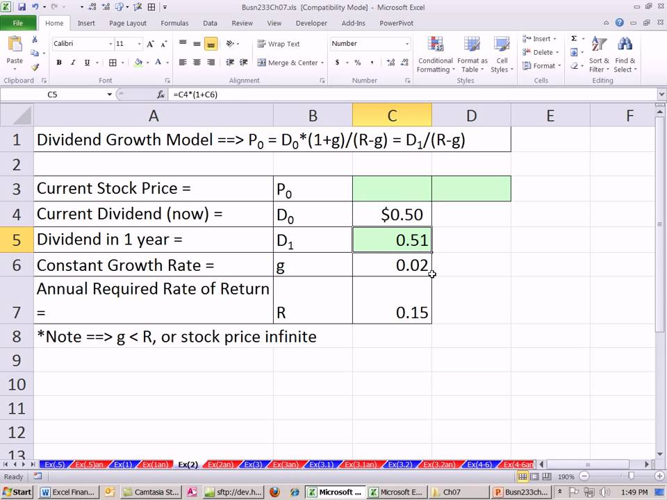 Excel Finance Class 63 Stock Valuation With Dividend Growth Model