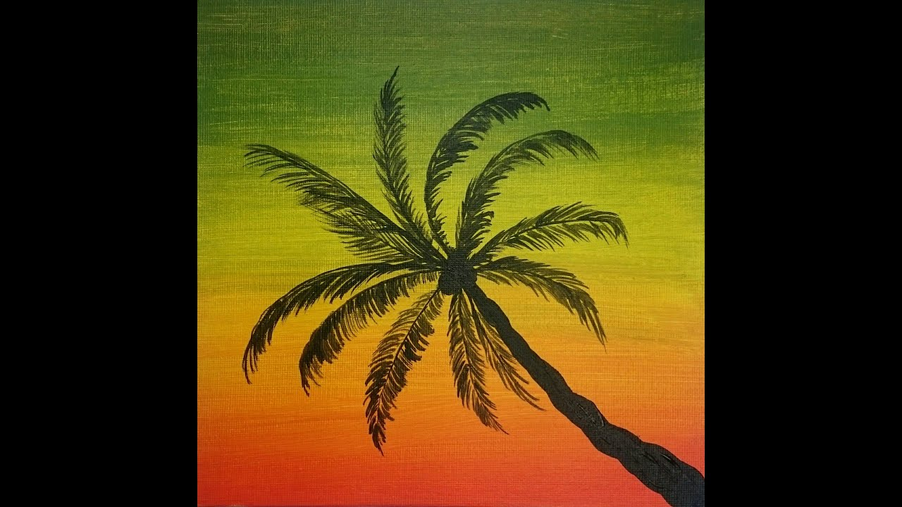how to paint palm tree easy painting youtube
