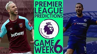 EPL Week 6 Premier League Score and Results Predictions 2018/19
