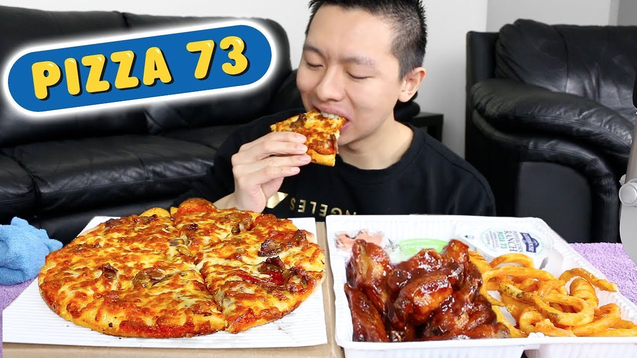 Mukbang FEAST: Pizza, Chicken Wings, and Curly Fries | Pizza 73 Mukbang & Eating Show