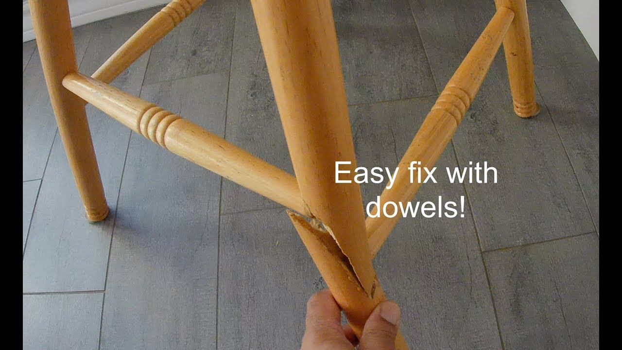 Quick broken chair leg repair and fix with dowels