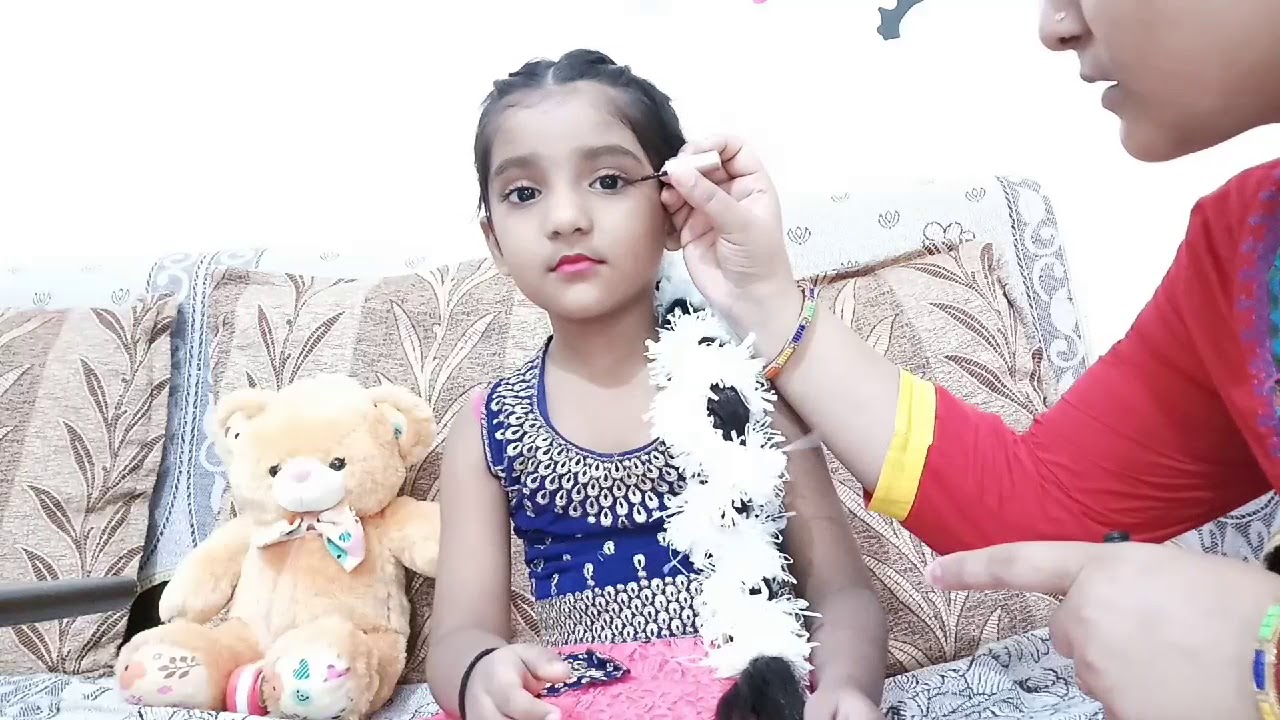 1054464dc How To do Makeup for radha kids || Getup for radha in fancy dress || ENJOY  ||#JANMASTAMI