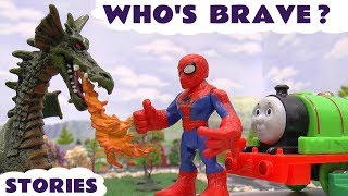 Spiderman with Thomas & Friends Toys Stories | Batman Avengers Dragons & Play Doh Logo  Who