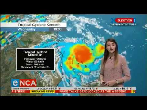 Heavy rain expected as Cyclone Kenneth approaches Mozambique