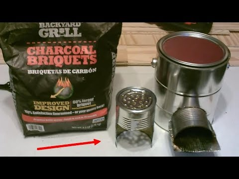 "Homemade BBQ Grill! ""Charcoal-Fueled"" Rocket Stove! (wood-to-coal conv.) - STEEL CAN BBQ/STOVE - DIY"