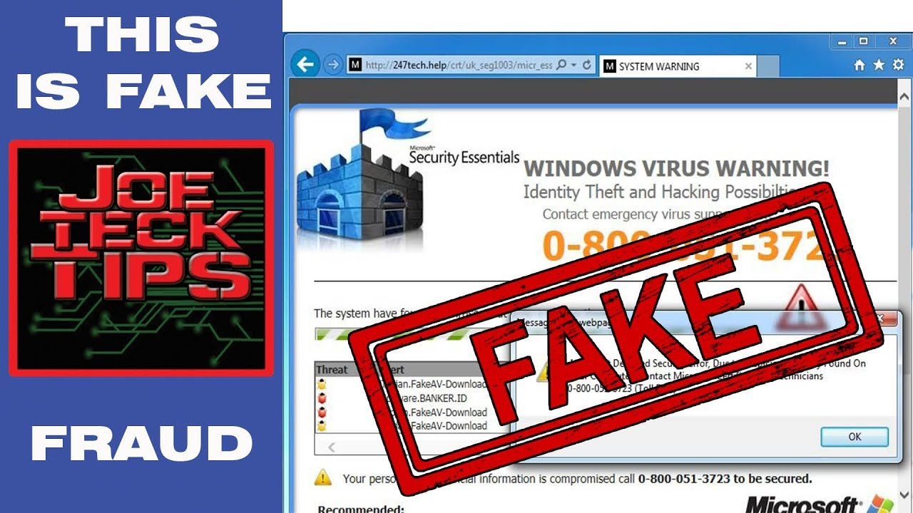 e9808635177 Fake VIRUS Warning Fraud 247 support ALERT! | JoeteckTips