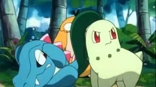Pokemon - Chikorita, Cyndaquil and Totodile fight