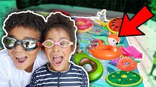 We Filled our Swimming Pool with Floaties!!