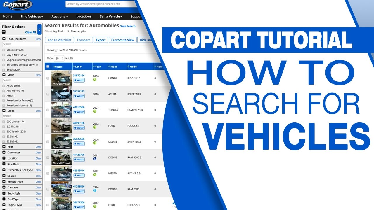 Copart Tutorial: How to Search for Vehicles