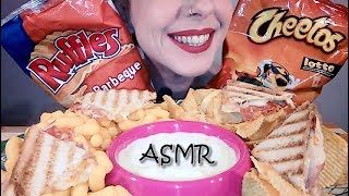 ASMR Eating Snacks: Cheese Salami Toast | Cheetos Puffs | Ruffles Chips | Sour Cream | No Talking