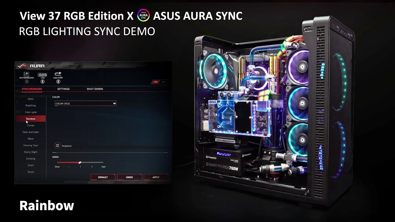 Thermaltake View37 RGB Edition Illumination in Sync with Asus AURA  SYNC-enabled Motherboard Demo