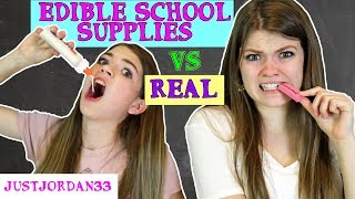 DIY EDIBLE SCHOOL SUPPLIES VS REAL SCHOOL SUPPLIES - BACK TO SCHOOL FUNNY PRANKS / JustJordan33