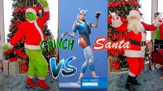Santa Claus vs The Grinch! Fortnite Dance Challenge