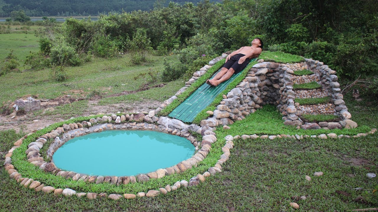 Build water slide and stone swimming pool underground - How to put hot water in a swimming pool ...