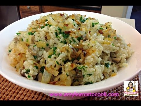 Amy's Baked Mushroom Risotto with Caramelized Onions - YouTube