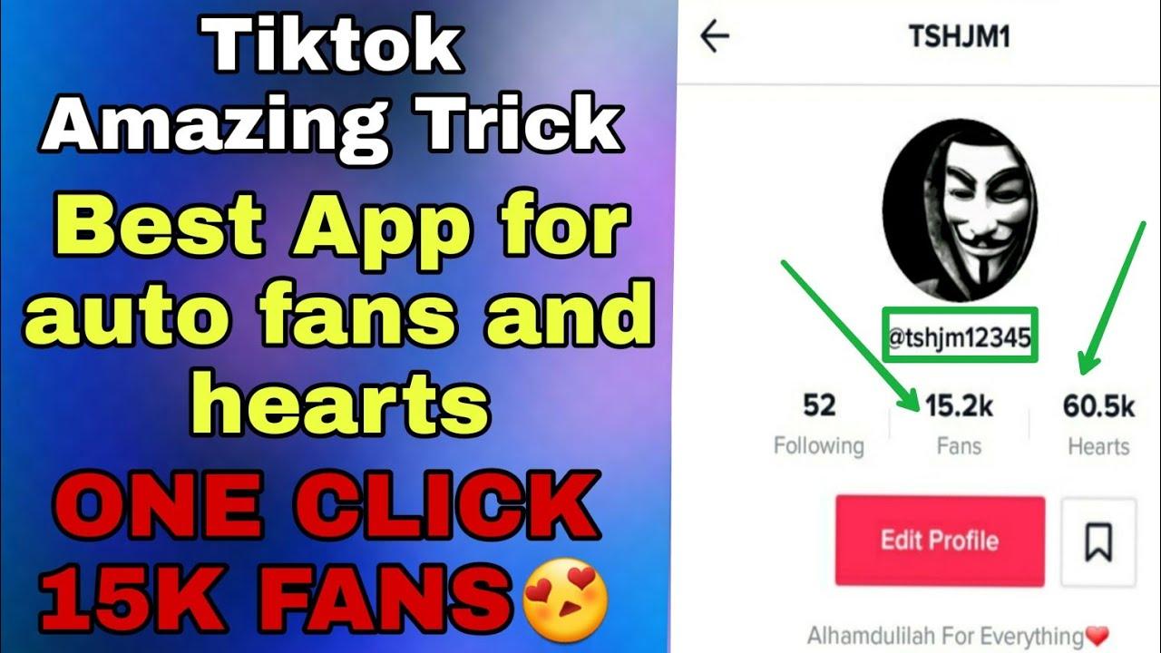 1 Click 15k fans on tiktok Best auto fans and follower app for tiktok  musically||increase tiktok fan