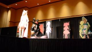 Our masquerade skit at Saboten 2014 with PenguinPhoebe as our Kyube...