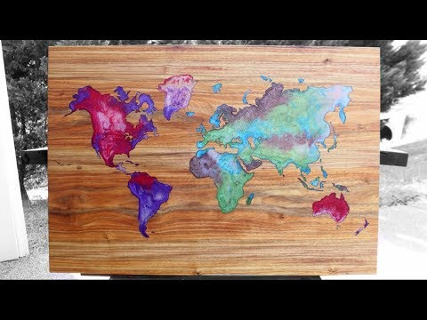 Resin & Wood - World Map wall art - DIY Woodworking