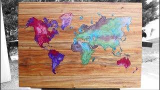 Resin & Wood   World Map Wall Art   Diy Woodworking