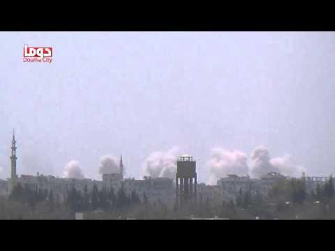 تنسيقية دوما || قصف عنيف بصواريخ محمولة بمظلات يتعرض له حي جوبر الدمشقي 3/9/2014