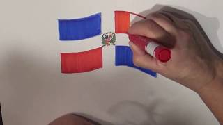 Learn geography for kids How to draw a flag Dominican Republic