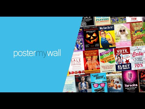 A video tutorial of PosterMyWall - an easy tool to make  posters, videos and social media graphics thumbnail