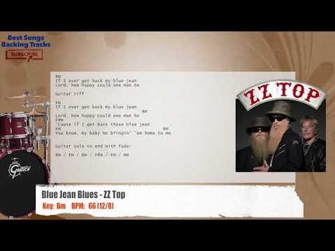 Blue Jean Blues - ZZ Top Drums Backing Track with chords and lyrics