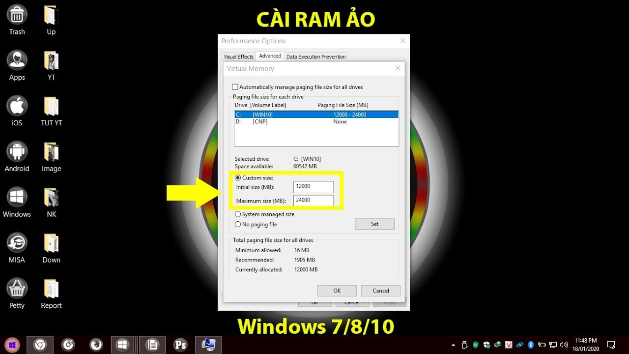 Cách đặt RAM ẢO trên Windows 7, 8, 10 | Increasing Virtual Memory on Windows