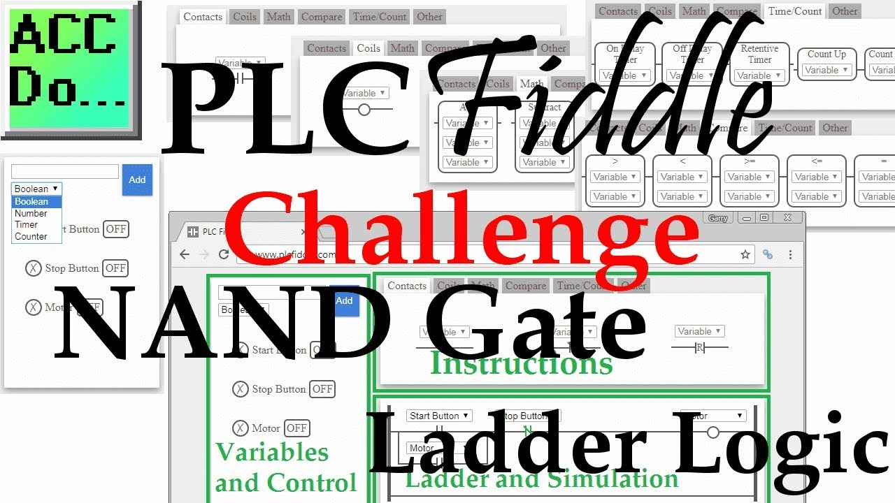 plc fiddle nand gate ladder logic challenge solution youtube. Black Bedroom Furniture Sets. Home Design Ideas