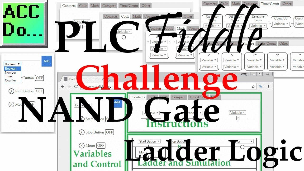 plc fiddle nand gate ladder logic challenge solution [ 1280 x 720 Pixel ]