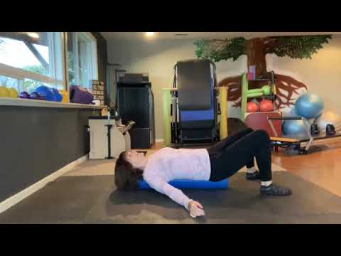 Foam roller moves to encourage breath and tension release!