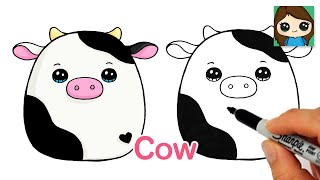 How to Draw a Cute Cow Easy Squishmallows