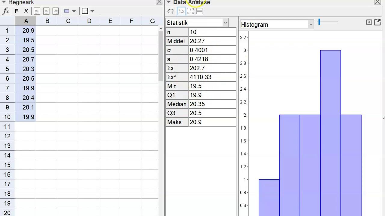 Estimerede værdier +fraktilplot geogebra