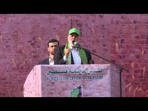 Hamas leader rails against Trump at commemorative rally