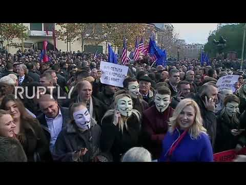 Albania: Opposition protestors clash with police outside parliament