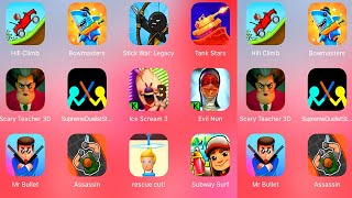 Ice Scream 3,Evil Nun,Mr Bullet,Hunter Assassin,Rescue Kitten,Subway Surfers,Scary Teacher 3D,