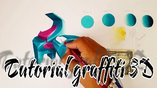 TUTORIAL como hacer un Graffiti 3D sketch con solo 5 colores/3D Graffiti sketch with only 5 colors