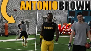 1 V 1 FOOTBALL VS NFL SUPERSTAR ANTONIO BROWN!! I PICKED HIM OFF!!