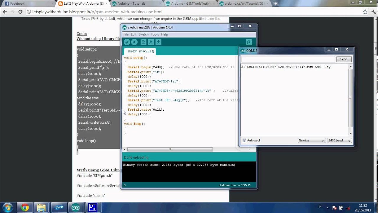 Arduino GSM Modem Without Using Library Files