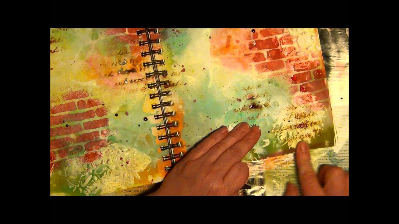 Tutorial make a mixed media page with a whitewash for Background acrylic painting techniques