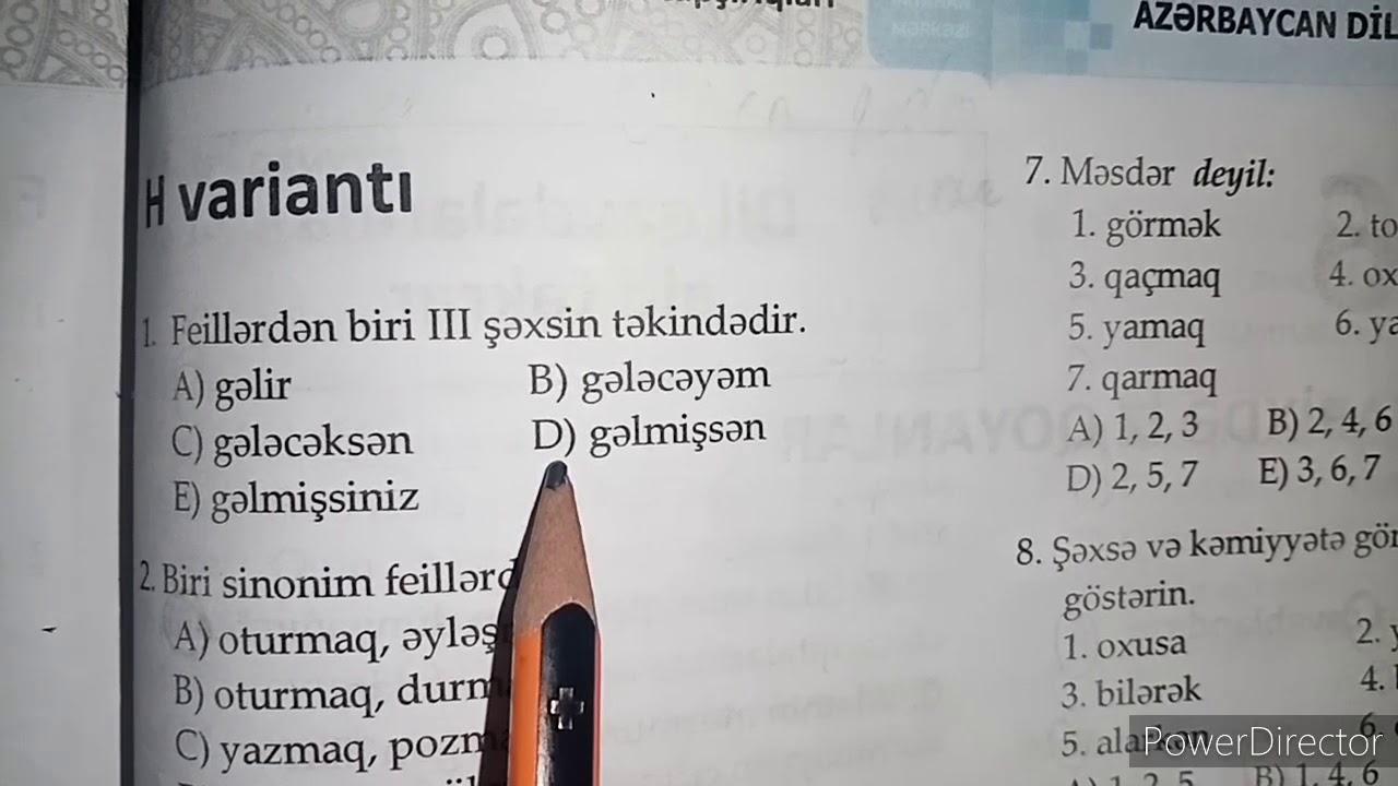 Azərbaycan dili I hissə test toplusu || Köməkçi nitq hissələri || Modal sözlər.