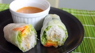 How To Make Salad Rolls   Mango Filling With Spicy Peanut Sauce Recipe