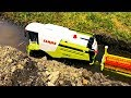 BRUDER TOYS RC combine harvester in the mud!